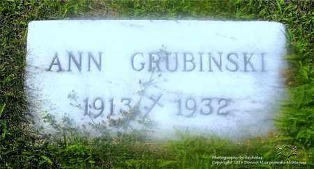 GRUBINSKI, ANN - Lucas County, Ohio | ANN GRUBINSKI - Ohio Gravestone Photos