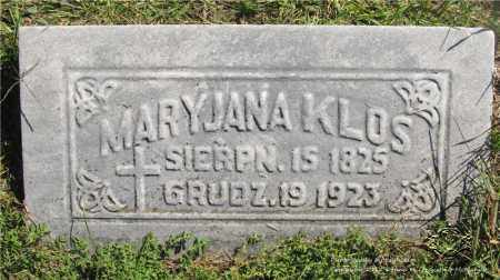 KLOS, MARYJANA - Lucas County, Ohio | MARYJANA KLOS - Ohio Gravestone Photos