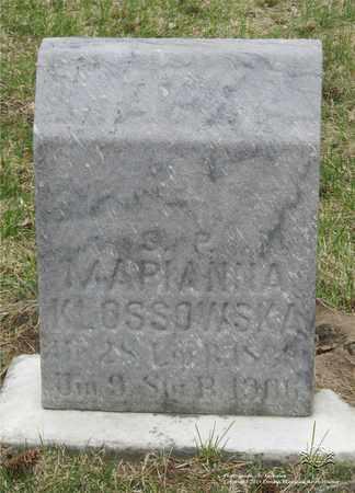 DUDZENS KLOSSOWSKA, MARIANNA - Lucas County, Ohio | MARIANNA DUDZENS KLOSSOWSKA - Ohio Gravestone Photos