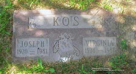 KOS, VIRGINIA - Lucas County, Ohio | VIRGINIA KOS - Ohio Gravestone Photos