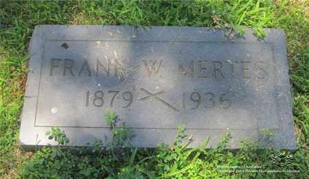 MERTES, FRANK W. - Lucas County, Ohio | FRANK W. MERTES - Ohio Gravestone Photos