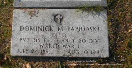PAPROSKI, DOMINICK M. - Lucas County, Ohio | DOMINICK M. PAPROSKI - Ohio Gravestone Photos