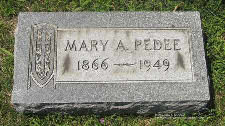 PEDEE, MARY A. - Lucas County, Ohio | MARY A. PEDEE - Ohio Gravestone Photos