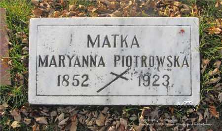 SZYMANSKI PIOTROWSKA, MARYANNA - Lucas County, Ohio | MARYANNA SZYMANSKI PIOTROWSKA - Ohio Gravestone Photos