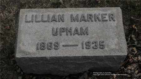 MARKER UPHAM, LILLIAN - Lucas County, Ohio | LILLIAN MARKER UPHAM - Ohio Gravestone Photos