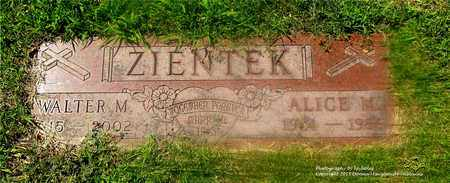 ZIENTEK, ALICE M. - Lucas County, Ohio | ALICE M. ZIENTEK - Ohio Gravestone Photos