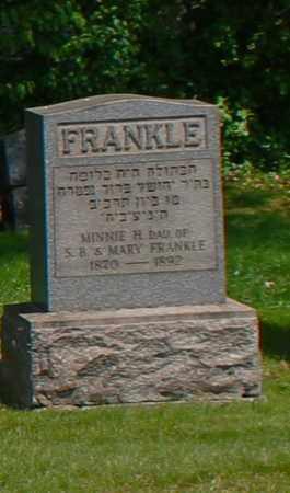 FRANKLE, MINNIE - Mahoning County, Ohio   MINNIE FRANKLE - Ohio Gravestone Photos