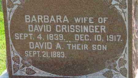 CRISSINGER, BARBARA - Marion County, Ohio | BARBARA CRISSINGER - Ohio Gravestone Photos