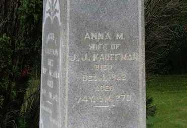 KAUFFMAN, ANNA M. - Marion County, Ohio | ANNA M. KAUFFMAN - Ohio Gravestone Photos