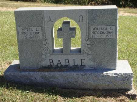 BABLE, WILLIAM DIXON - Meigs County, Ohio | WILLIAM DIXON BABLE - Ohio Gravestone Photos