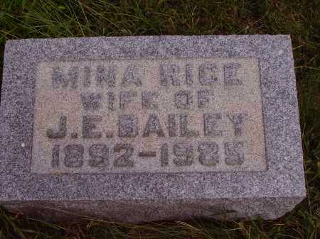 RICE BAILEY, MINA - Meigs County, Ohio | MINA RICE BAILEY - Ohio Gravestone Photos
