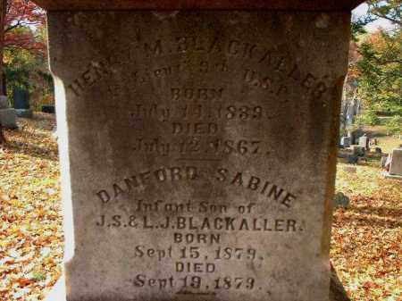 BLACKALLER, HENRY M. - Meigs County, Ohio | HENRY M. BLACKALLER - Ohio Gravestone Photos