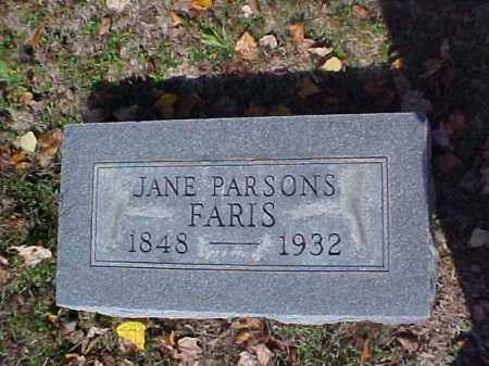 PARSONS FARIS, JANE - Meigs County, Ohio | JANE PARSONS FARIS - Ohio Gravestone Photos
