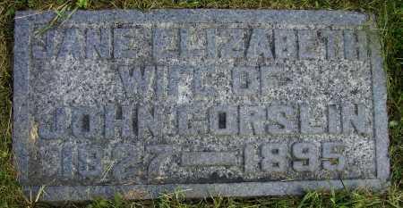 GORSLIN, JANE ELIZABETH - Meigs County, Ohio   JANE ELIZABETH GORSLIN - Ohio Gravestone Photos