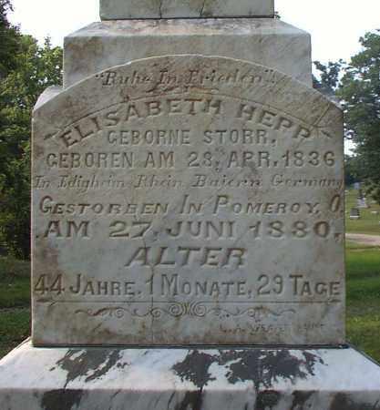 HEPP, ELIZABETH - Meigs County, Ohio | ELIZABETH HEPP - Ohio Gravestone Photos