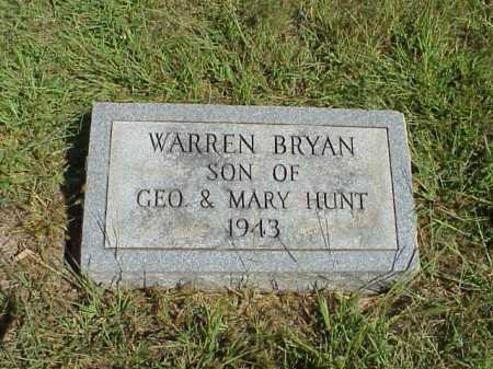 HUNT, WARREN BRYAN - Meigs County, Ohio | WARREN BRYAN HUNT - Ohio Gravestone Photos