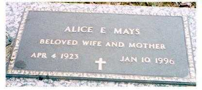 MAYS, ALICE E. - Meigs County, Ohio | ALICE E. MAYS - Ohio Gravestone Photos