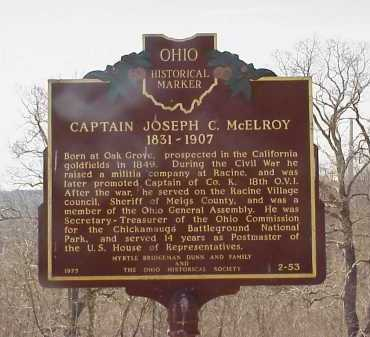 MCELROY, CAPTAIN JOSEPH C. - Meigs County, Ohio | CAPTAIN JOSEPH C. MCELROY - Ohio Gravestone Photos