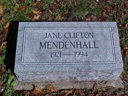 CLIFTON MENDENHALL, JANE - Meigs County, Ohio | JANE CLIFTON MENDENHALL - Ohio Gravestone Photos