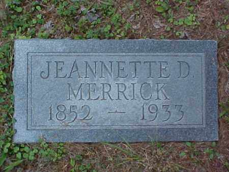 MERRICK, JEANNETTE D. - Meigs County, Ohio | JEANNETTE D. MERRICK - Ohio Gravestone Photos