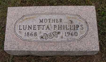 PHILLIPS, LUNETTA - Meigs County, Ohio | LUNETTA PHILLIPS - Ohio Gravestone Photos