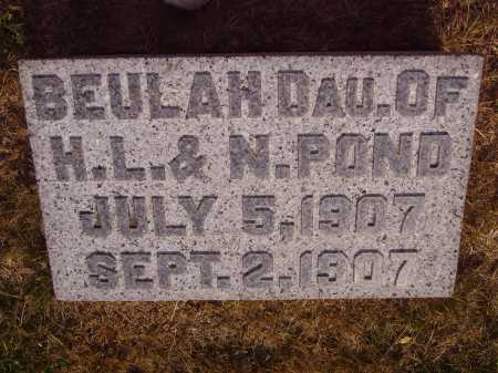 POND, BEULAH - Meigs County, Ohio | BEULAH POND - Ohio Gravestone Photos