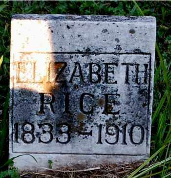RICE, ELIZABETH - Meigs County, Ohio | ELIZABETH RICE - Ohio Gravestone Photos