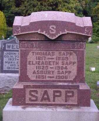 SAPP, ELIZABETH - Meigs County, Ohio | ELIZABETH SAPP - Ohio Gravestone Photos
