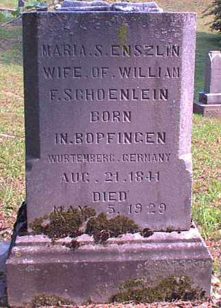ENSZLIN SCHOENLEIN, MARIA S. - Meigs County, Ohio | MARIA S. ENSZLIN SCHOENLEIN - Ohio Gravestone Photos