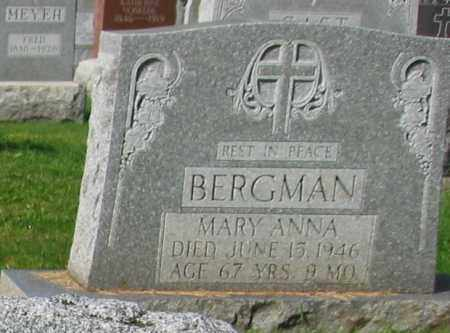 BERGMAN, MARY ANNA - Mercer County, Ohio | MARY ANNA BERGMAN - Ohio Gravestone Photos