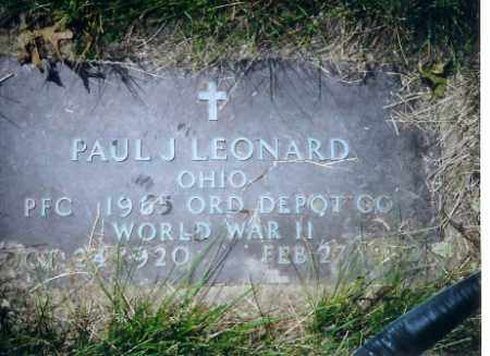 LEONARD, PAUL J - Miami County, Ohio | PAUL J LEONARD - Ohio Gravestone Photos