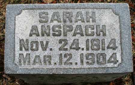 ANSPACH, SARAH - Montgomery County, Ohio | SARAH ANSPACH - Ohio Gravestone Photos
