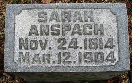 ANSPACH, SARAH - Montgomery County, Ohio | SARAH ANSPACH - Ohio Gravestone Photos