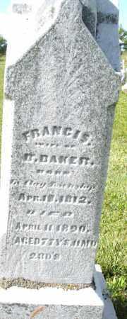 BAKER, FRANCIS - Montgomery County, Ohio | FRANCIS BAKER - Ohio Gravestone Photos