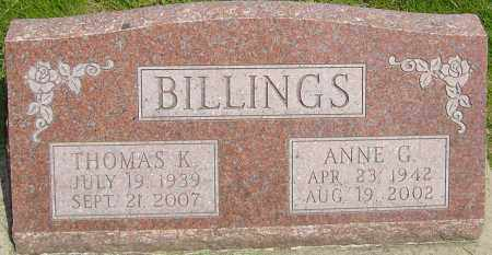 BILLINGS, ANNE G - Montgomery County, Ohio | ANNE G BILLINGS - Ohio Gravestone Photos