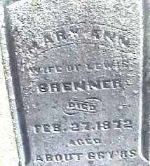 BRENNER, MARY ANN - Montgomery County, Ohio | MARY ANN BRENNER - Ohio Gravestone Photos