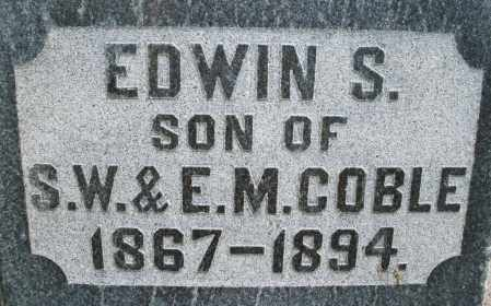 COBLE, EDWIN S. - Montgomery County, Ohio | EDWIN S. COBLE - Ohio Gravestone Photos