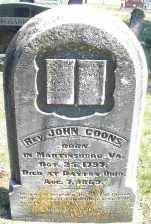 COONS/GOONS, JOHN REV. - Montgomery County, Ohio | JOHN REV. COONS/GOONS - Ohio Gravestone Photos