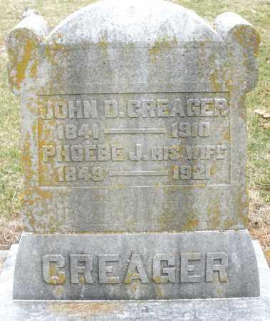 CREAGER, JOHN D. - Montgomery County, Ohio | JOHN D. CREAGER - Ohio Gravestone Photos