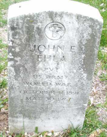 EHLA, JOHN E. - Montgomery County, Ohio | JOHN E. EHLA - Ohio Gravestone Photos