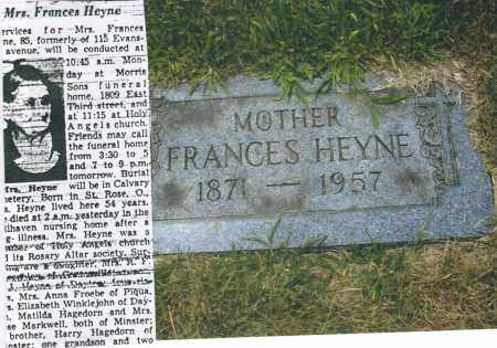HEYNE, FRANCES - Montgomery County, Ohio | FRANCES HEYNE - Ohio Gravestone Photos