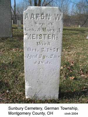 KEISTER, AARON W - Montgomery County, Ohio | AARON W KEISTER - Ohio Gravestone Photos