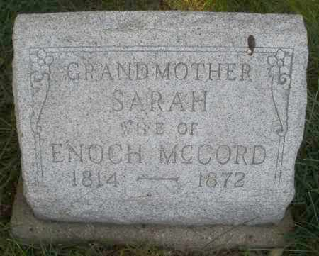 MCCORD, SARAH - Montgomery County, Ohio | SARAH MCCORD - Ohio Gravestone Photos