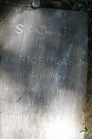 NICHOLAS, SARAH - Montgomery County, Ohio | SARAH NICHOLAS - Ohio Gravestone Photos
