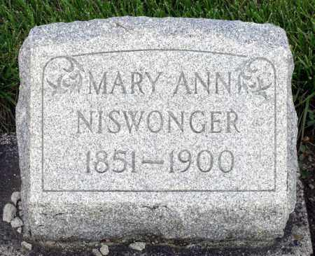 NISWONGER, MARY ANN - Montgomery County, Ohio | MARY ANN NISWONGER - Ohio Gravestone Photos