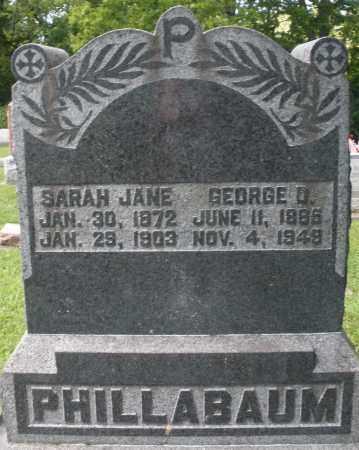 PHILLABAUM, SARAH JANE - Montgomery County, Ohio | SARAH JANE PHILLABAUM - Ohio Gravestone Photos