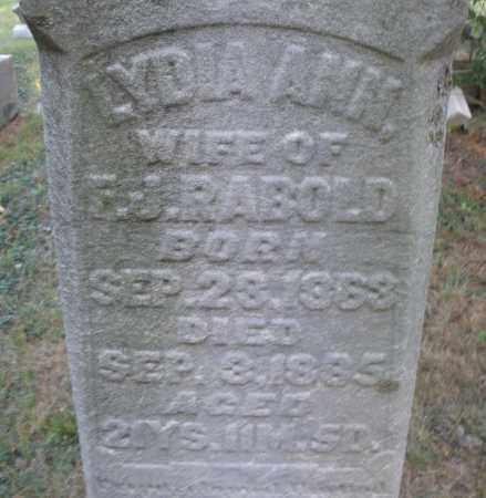 RABOLD, LYDIA ANN - Montgomery County, Ohio | LYDIA ANN RABOLD - Ohio Gravestone Photos