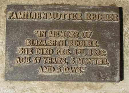 RECHER, ELIZABETH - Montgomery County, Ohio | ELIZABETH RECHER - Ohio Gravestone Photos
