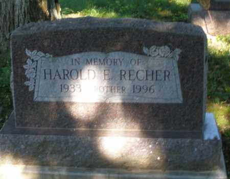 RECHER, HAROLD E. - Montgomery County, Ohio | HAROLD E. RECHER - Ohio Gravestone Photos