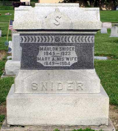 SNIDER, MARY A. - Montgomery County, Ohio | MARY A. SNIDER - Ohio Gravestone Photos